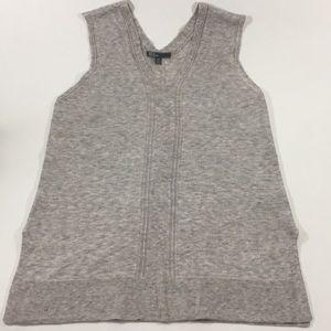 Heathered V-Neck Tunic Tank Light Sweater Top, M